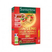 Santarome Bio Ginseng Gelée royale Guarana Acérola Solution buvable 20 Ampoules/10ml à QUEVERT